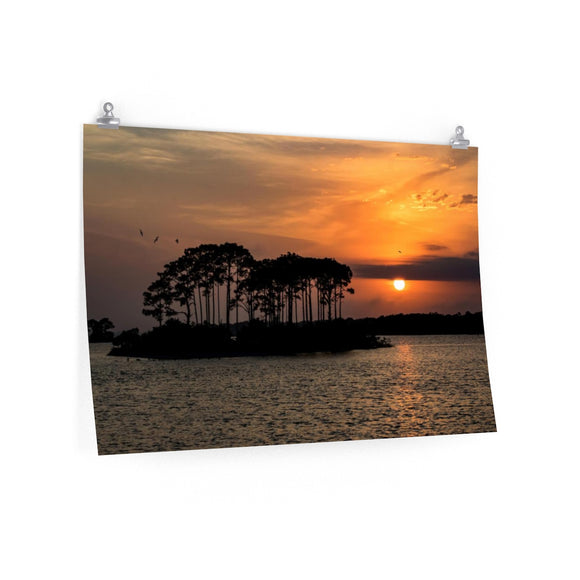 Premium Matte Poster Print: Orange Island Sunset