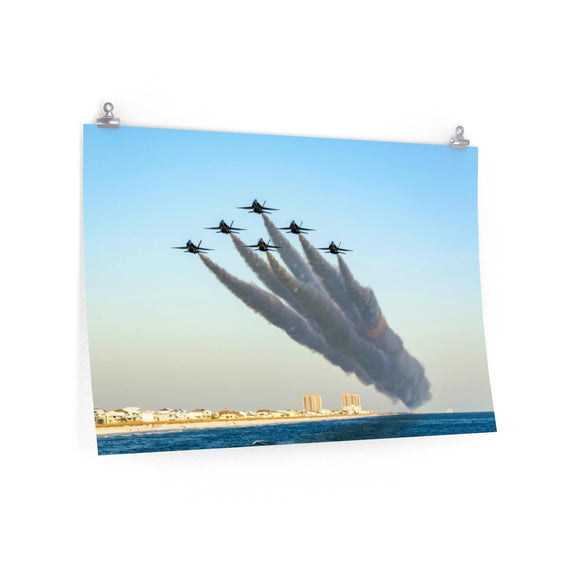 Poster Print:  Blue Angels over Pensacola Beach, Florida