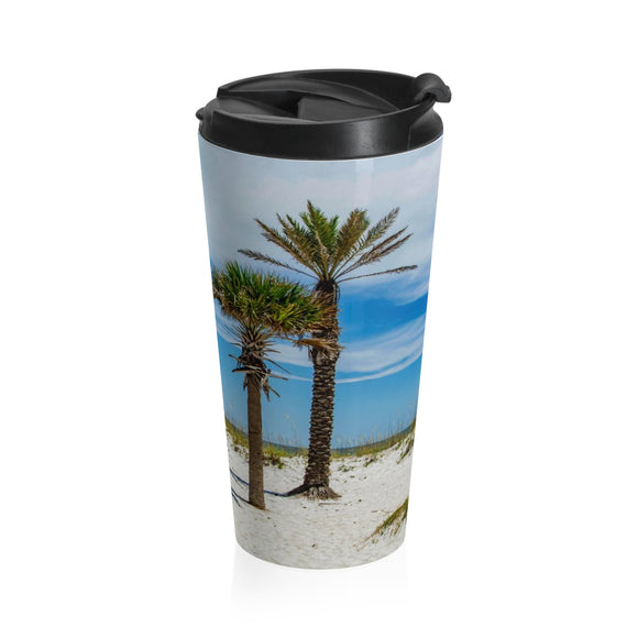 Stainless Steel Travel Mug: Palm Trees & Ocean Breeze