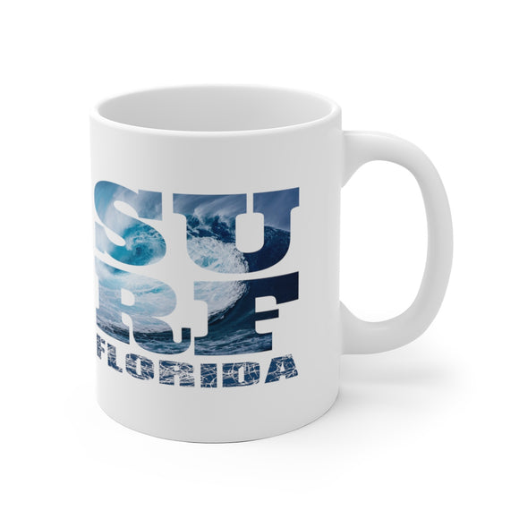White Ceramic Mug:  Surf Florida