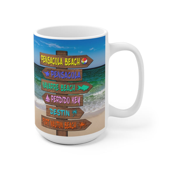 White Ceramic Mug:  Emerald Coast Beach Sign