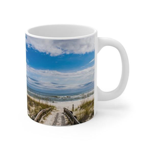 White Ceramic Mug:  Currently Pretending I'm at the Beach (Beach Pathway)