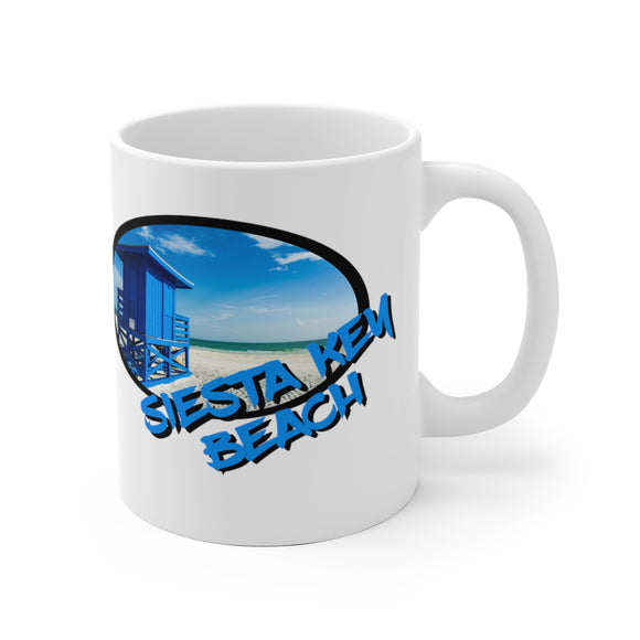 White Ceramic Mug:  Siesta Key Beach