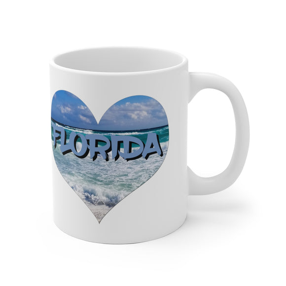White Ceramic Mug:  Heart Love Florida