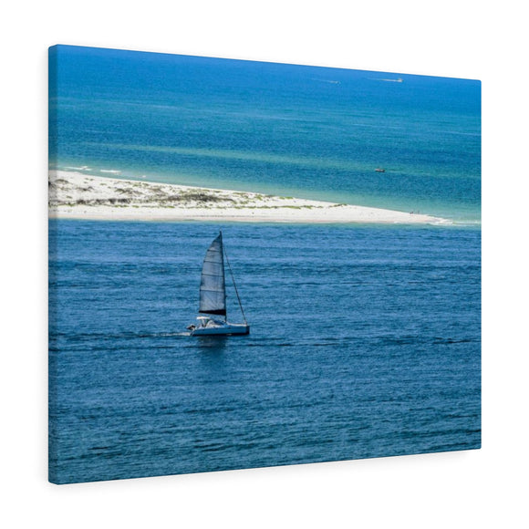 Canvas Wrap: Sailboat Leaving the Bay