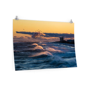 Premium Matte Poster Print: Blue Angel Jets fly over Pensacola Beach, Florida at Sunset