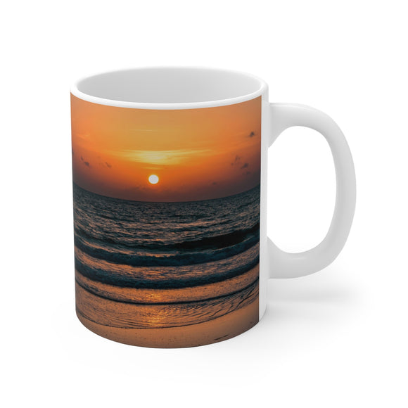 White Ceramic Mug:  Currently Pretending I'm at the Beach (Sunrise)