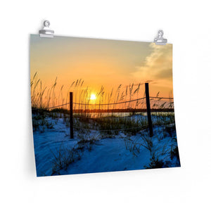 Premium Matte Poster Print: Beach Sand Dunes and Fence Sunset