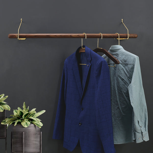 Cael collection - Wall mount coat rail, walnut wood and brass