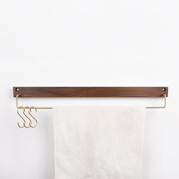 Cael collection - Wall mount/ Drill Free towel rail, walnut wood and brass