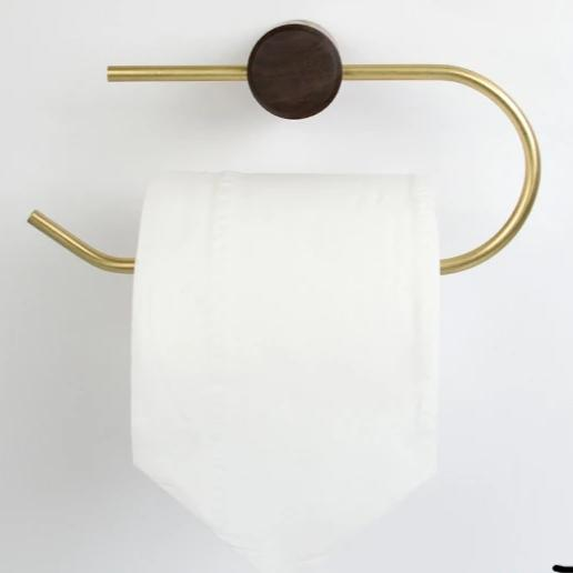 Cael collection - Wall mount/ Drill free toilet roll holder, walnut wood and brass