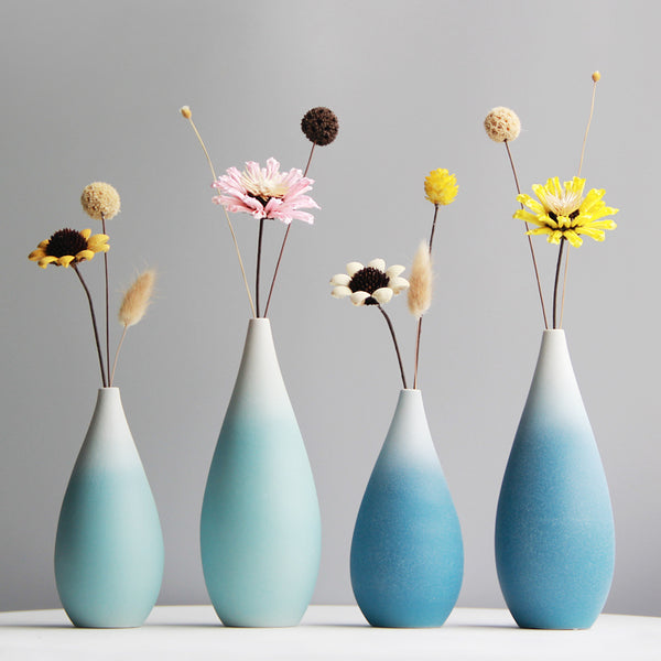 Ceramic vase, Modern, Hand Made. Available in Duck Egg or Ocean Blue