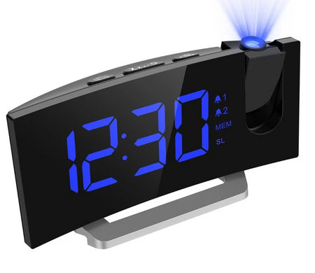 LED FM Projection Clock 2 Alarms Multi-functional Curved Screen