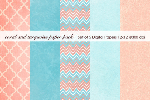 Coral and Turquoise Paper Pack
