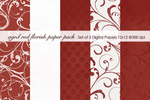 Aged Red Florish Paper Pack