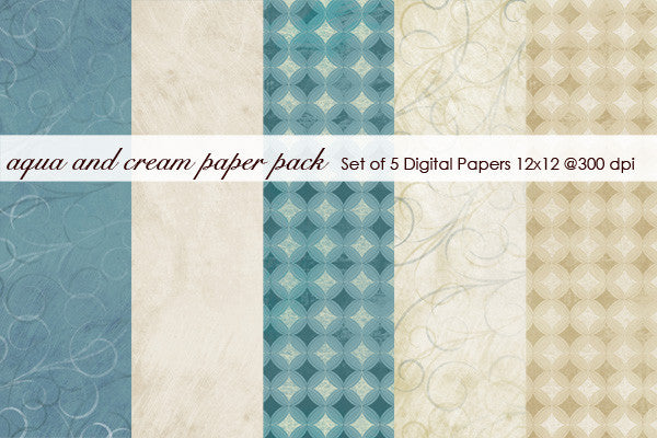 Aqua and Cream Paper Pack