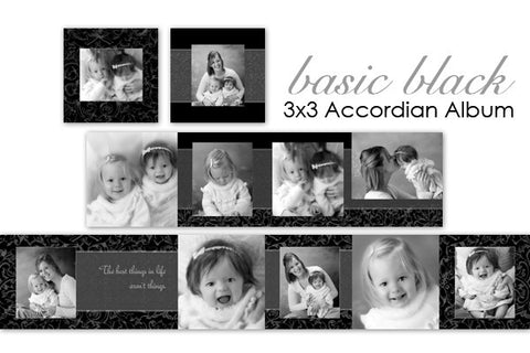Basic Black Accordian Album 3x3