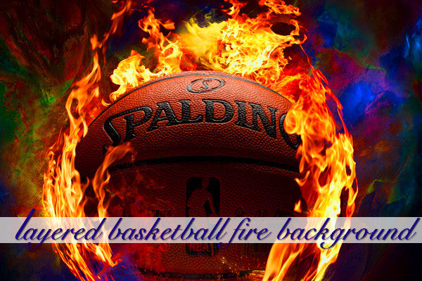 Layered Basketball Fire Background