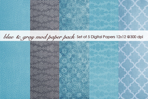 Blue and Gray Mod Paper Pack