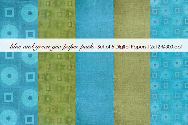 Blue and Green Geo Paper Pack