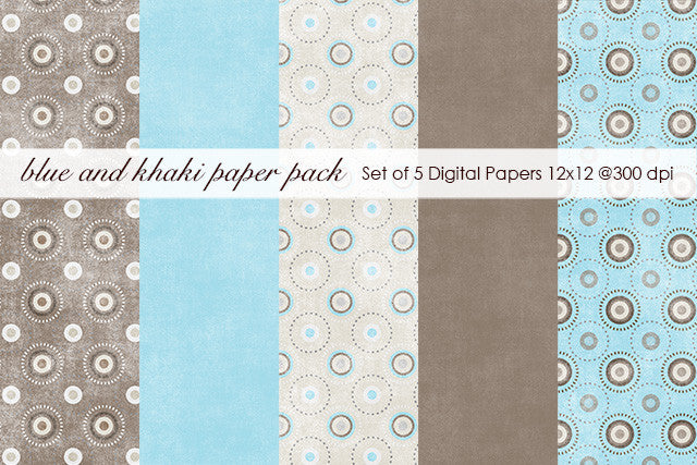 Blue and Khaki Paper Pack