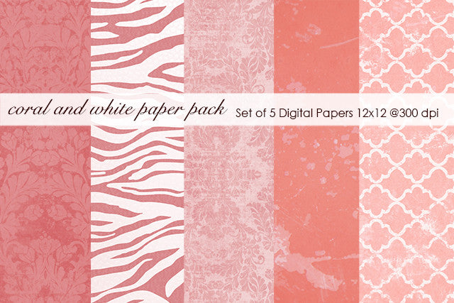 Coral and White Paper Pack