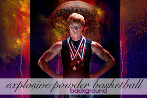 Layered Explosive Powder Basketball Background