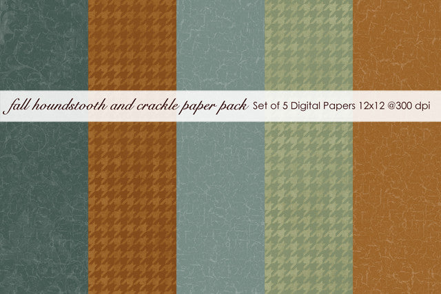 Fall Houndstooth and Crackle Paper Pack