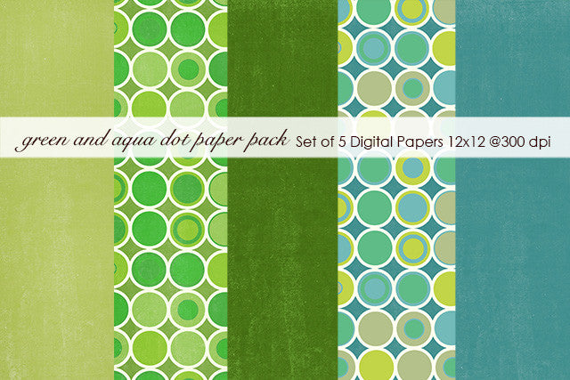 Green and Aqua Dot Paper Pack