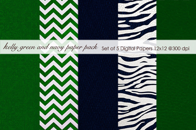 Kelly Green and Navy Paper Pack