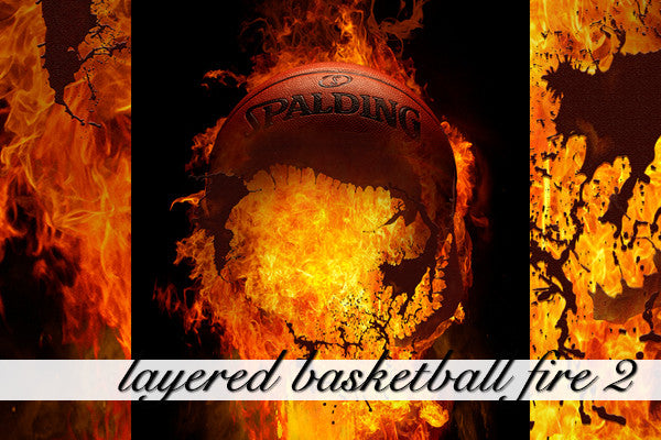 Layered Basketball Fire Background 2