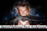 Layered Lightning Burst Background