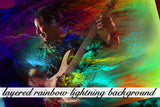 Layered Rainbow Lightning Background