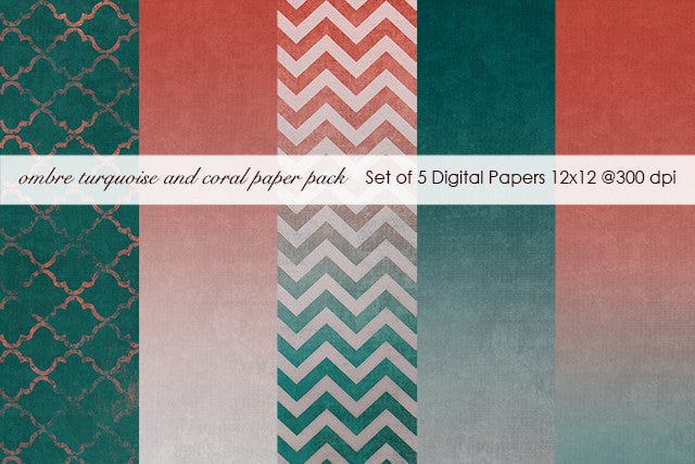 Ombre Turquoise and Coral Paper Pack