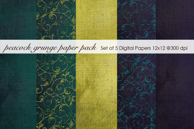 Peacock Grunge Paper Pack