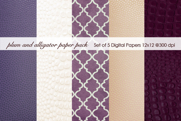 Plum and Cream Alligator Paper Pack