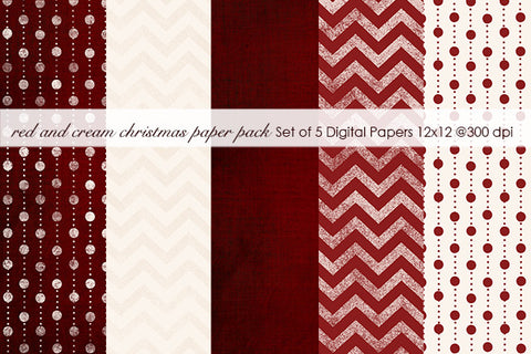 Red and Cream Christmas Paper Pack