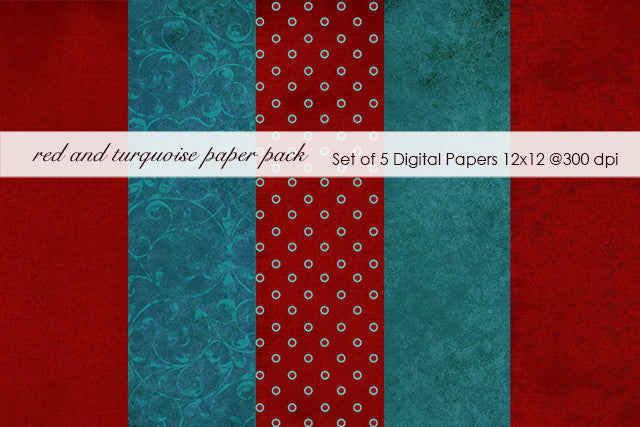 Red and Turquoise Paper Pack