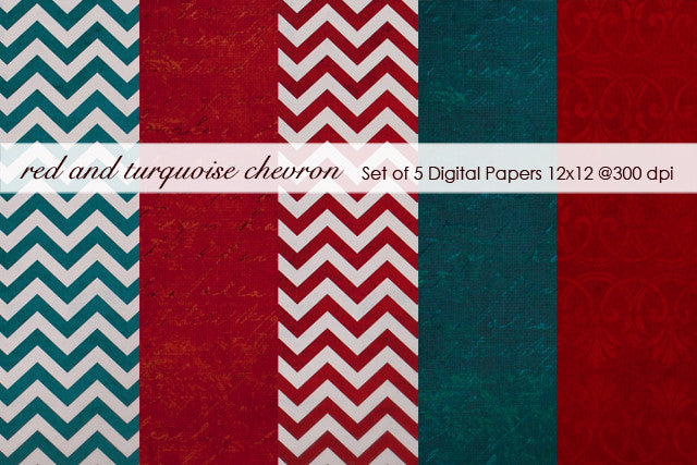 Red and Turquoise Chevron Paper Pack
