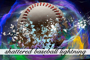 Shattered Baseball Lightning Background