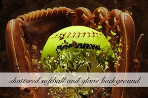 Layered Shattered Softball and Glove Background