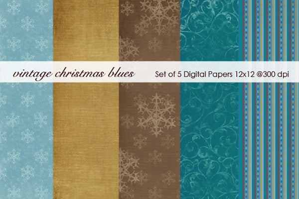Vintage Christmas Blues Paper Pack