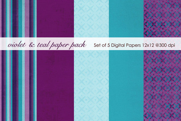 Violet and Teal Paper Pack