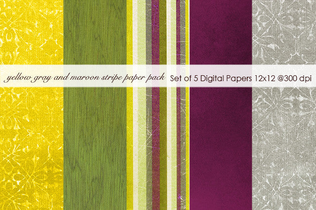 Yellow Gray and Maroon Stripe Paper Pack