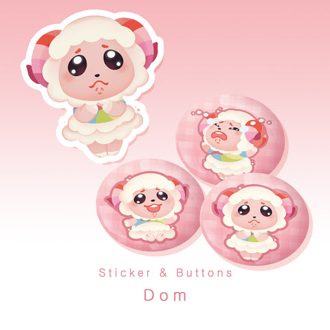 [Animal Crossing] Dom - Buttons and sticker