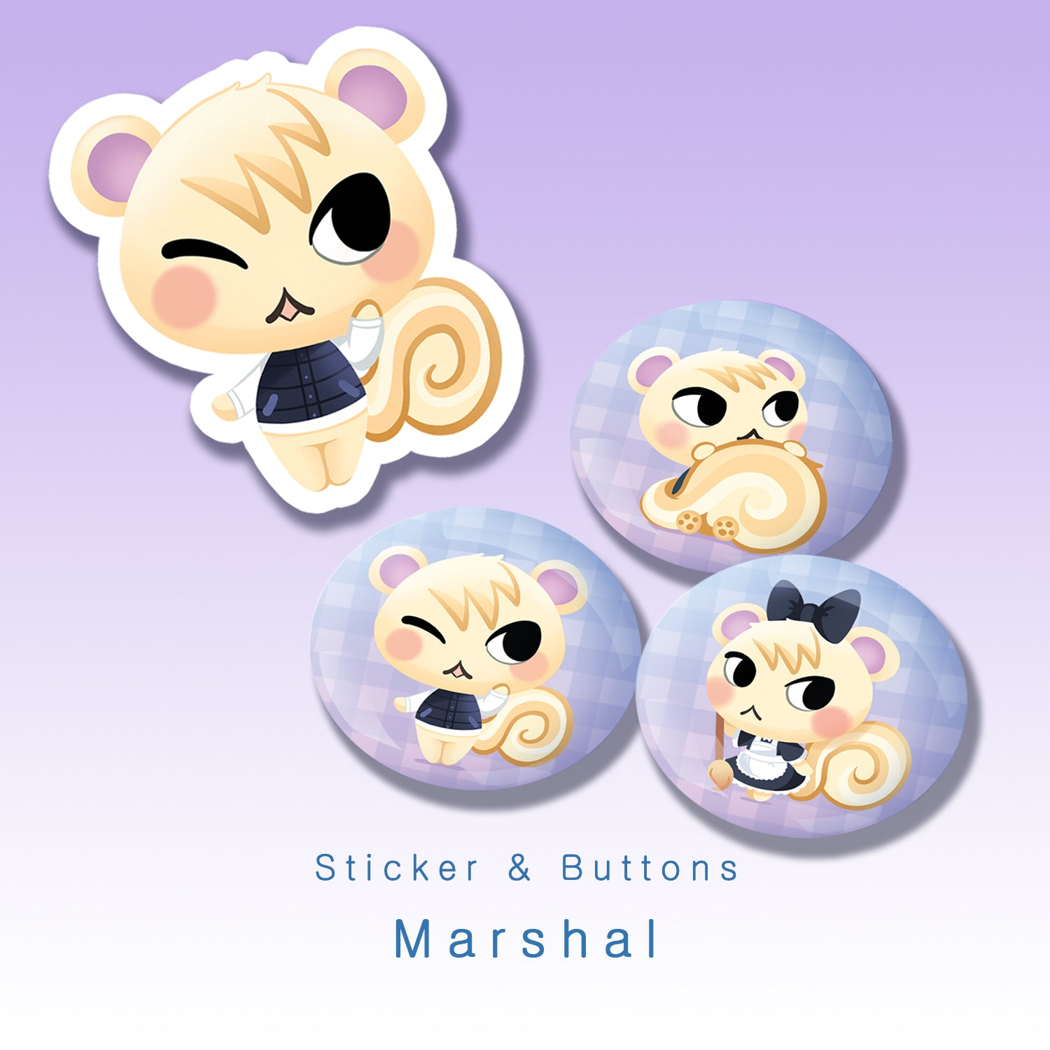 [Animal Crossing] Marshal - Buttons and sticker