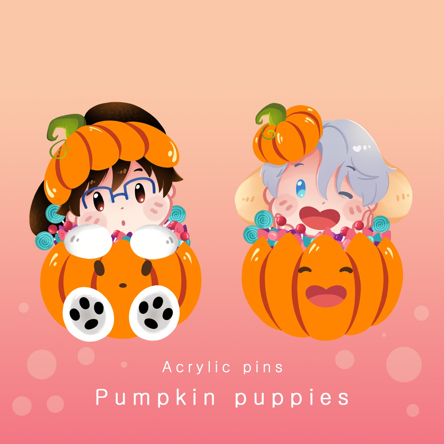 [Yuri!!! on Ice] Pumpkin puppies - acrylic pins
