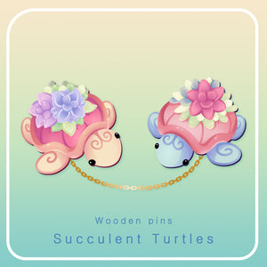 Succulent Turtle - Wooden pin set