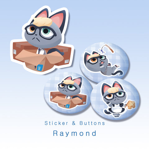 [Animal Crossing] Raymond - Buttons and sticker