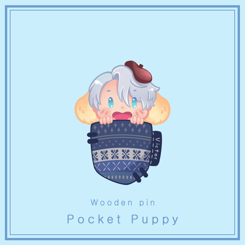 [Yuri!!! on Ice] Pocket Puppies - Wooden pins